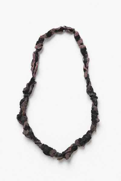 Quale II, 2016, necklace; velvet, copper, silk