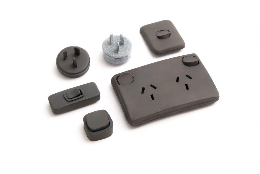 Socket, Plug, Switch, Brooch, 2018, Mild steel, stainless steel