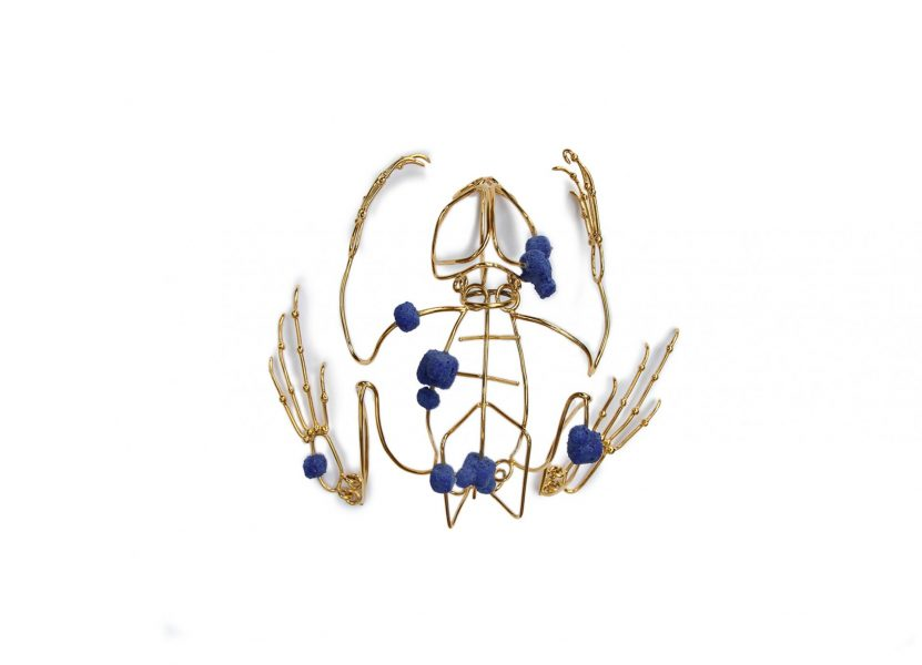 Sapo, Object/Bracelet, 2017, gold-plated silver, Fimo, enamel powder