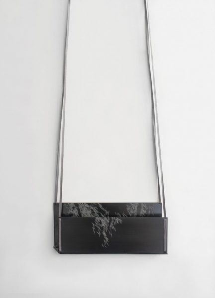 Desired Path II, Necklace, 2018, oxidized and engraved silver, silk