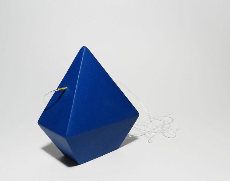 Dark Blue Diamond, Pendant, 2017, cardboard, brass, paint, silicone string
