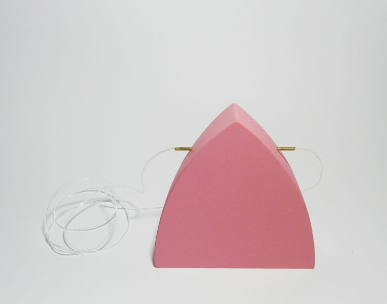 Pink Dome, Pendant, 2017, cardboard, brass, paint, silicone string