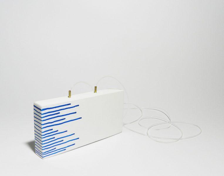 White Rhombus, Pendant, 2017, cardboard, brass, paint, silicone string