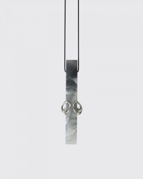 Nude Jade Pierced, Pendant, 2019, Jade, surgical stainless steel, rubber, silver