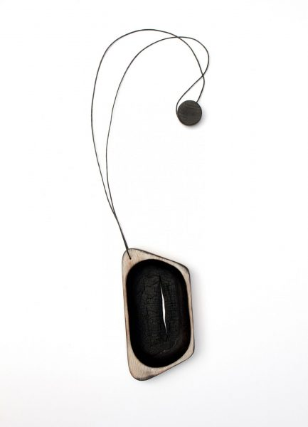 Untitled, Pendant, 2017, Burnt wood, paint, synthetic cord