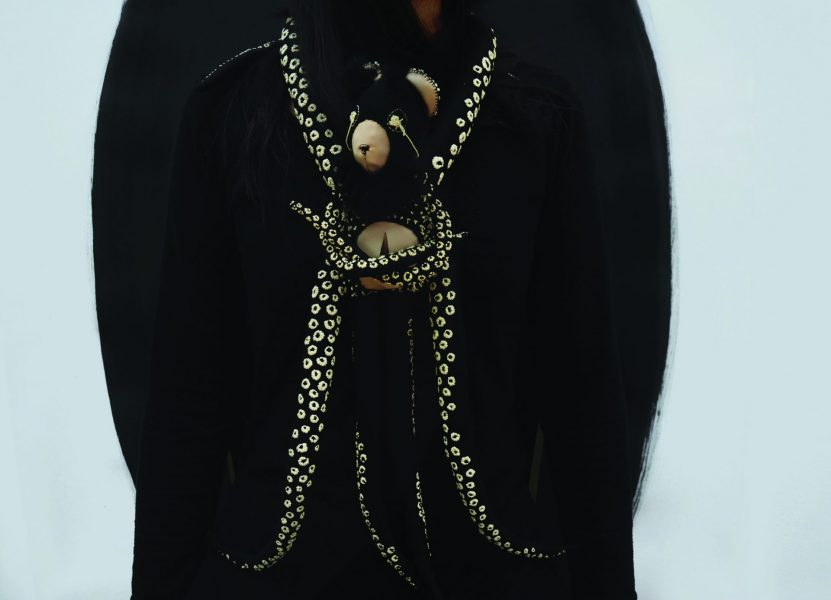 Octobear, Necklace, 2017-2019, Neoprene, synthetic leather, recycled rabbit fur, threadsm mangano calcite