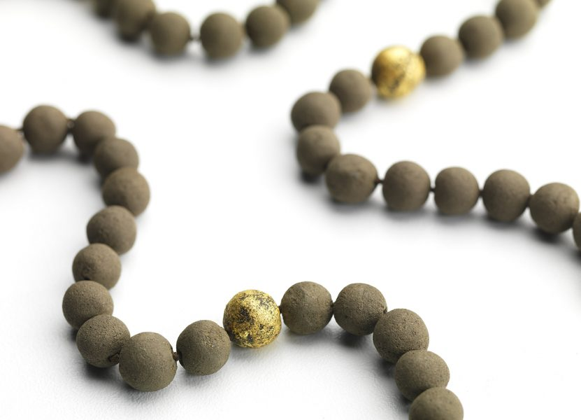 Prayer Bead Finished Piece, 2019, necklace; soil, freshwater pearls, gold leaf