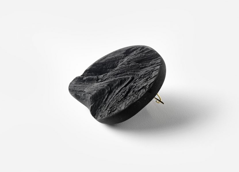 Charcoal Brooch Finished Piece, 2019, brooch; charcoal powder, 18ct gold