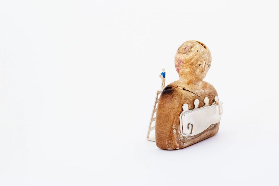 Diego, Brooch, 2018, Polychrome wood, silver, steel