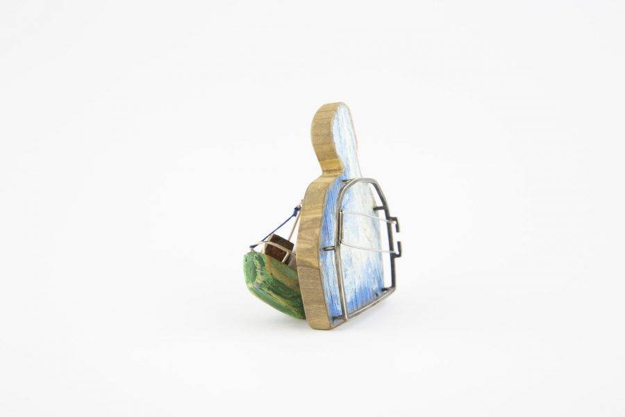 Tito, Brooch, 2018, Olive wood, polychrome wood, silver, cold enamelled copper, polyester, steel